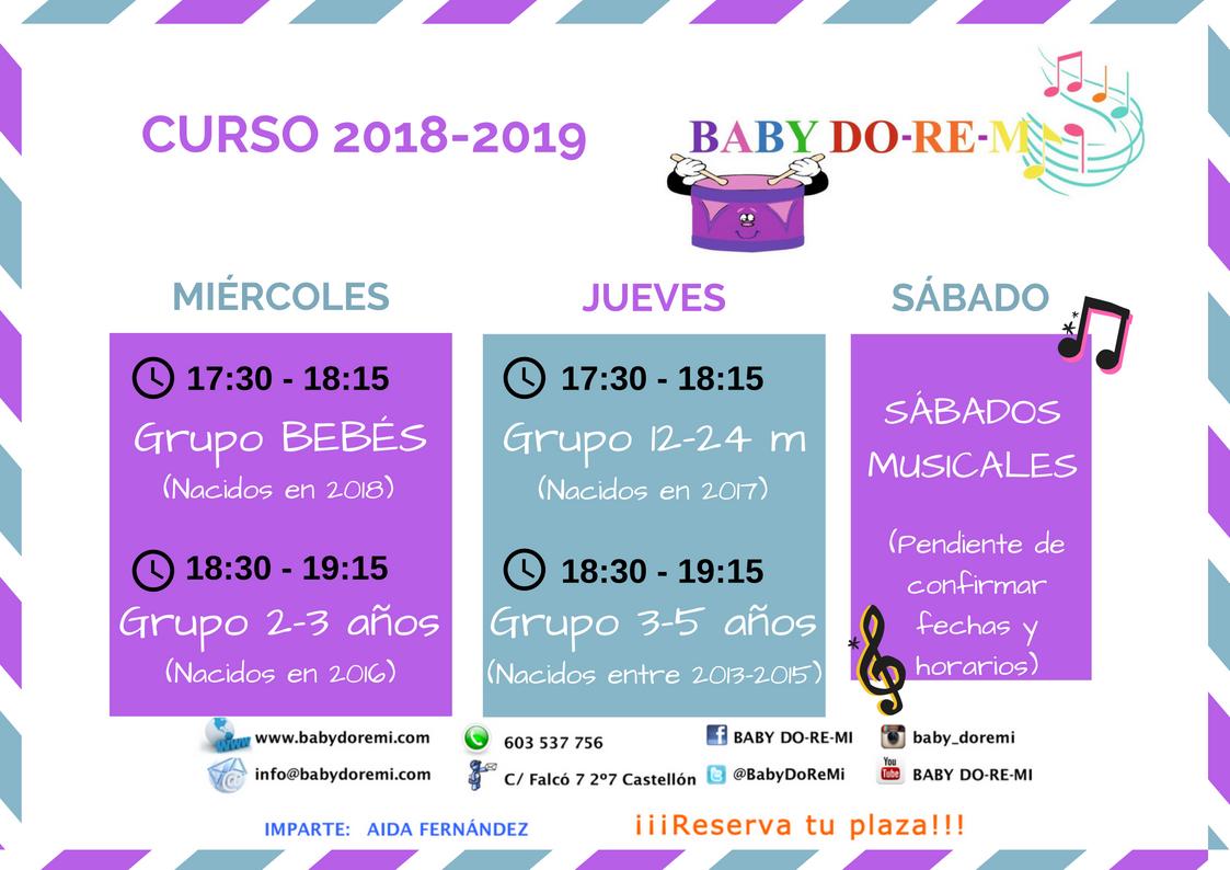 Calendario curso 18-19 babydoremi