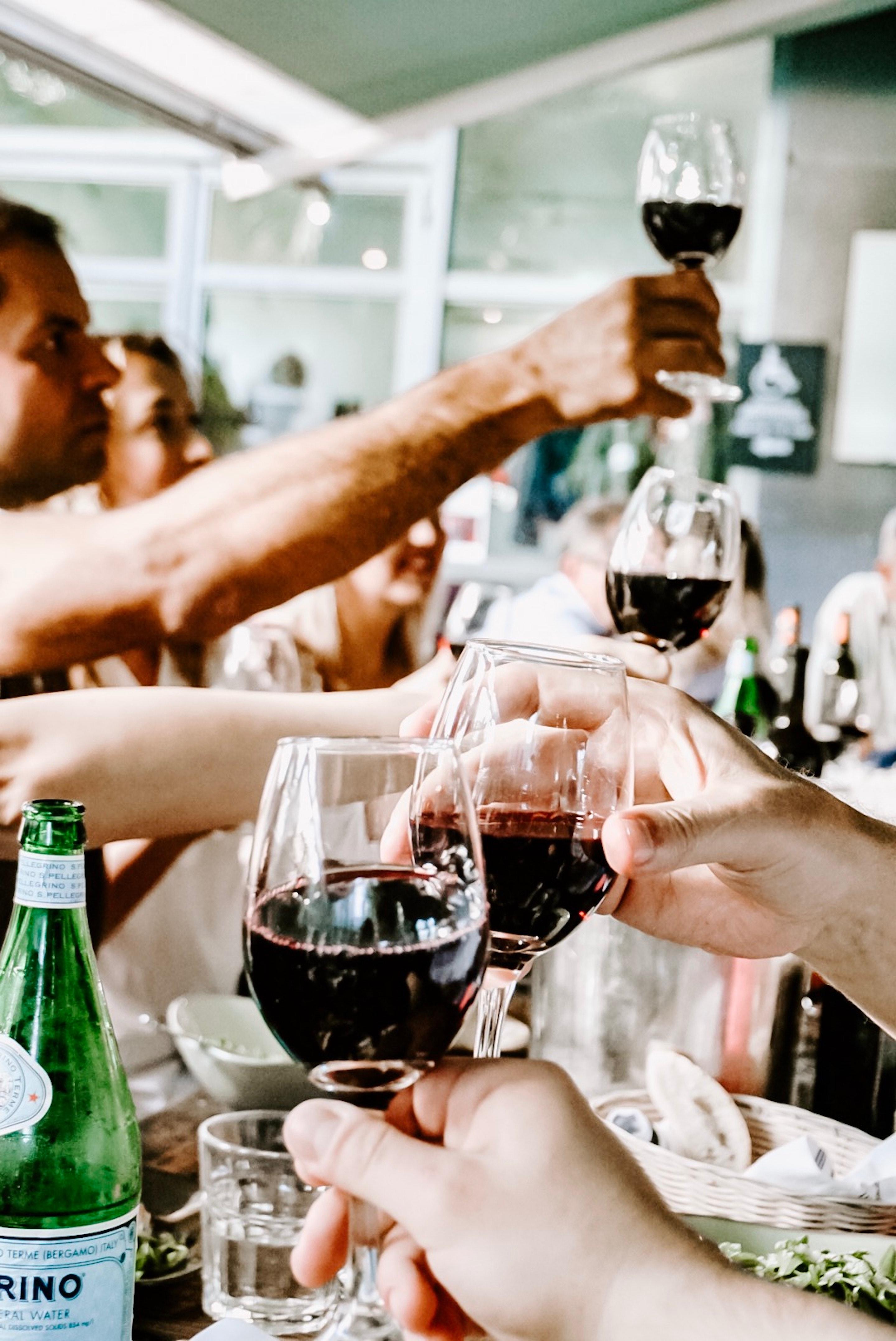 reunión comida en una mesa brindando con vino